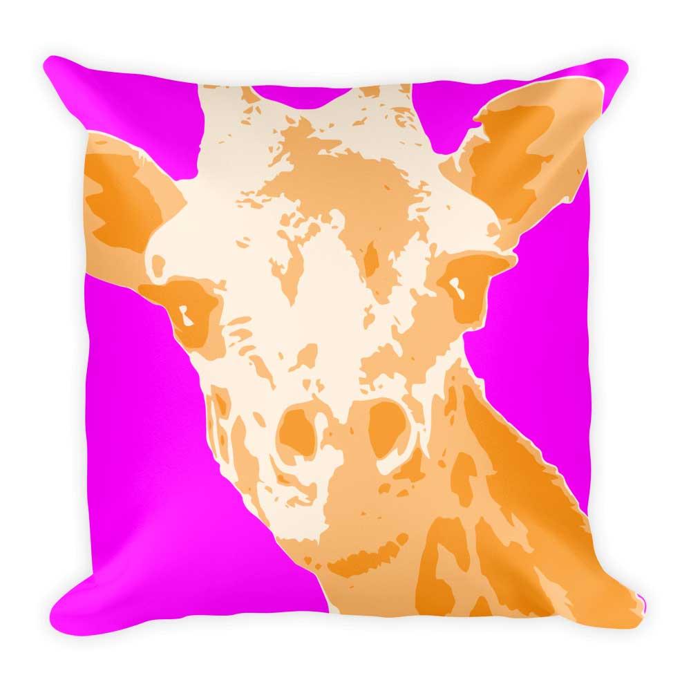 Giraffe Pillow - Bright Pink