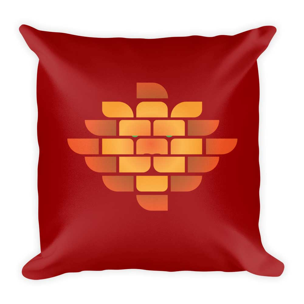 Brick Lion Pillow - Maroon
