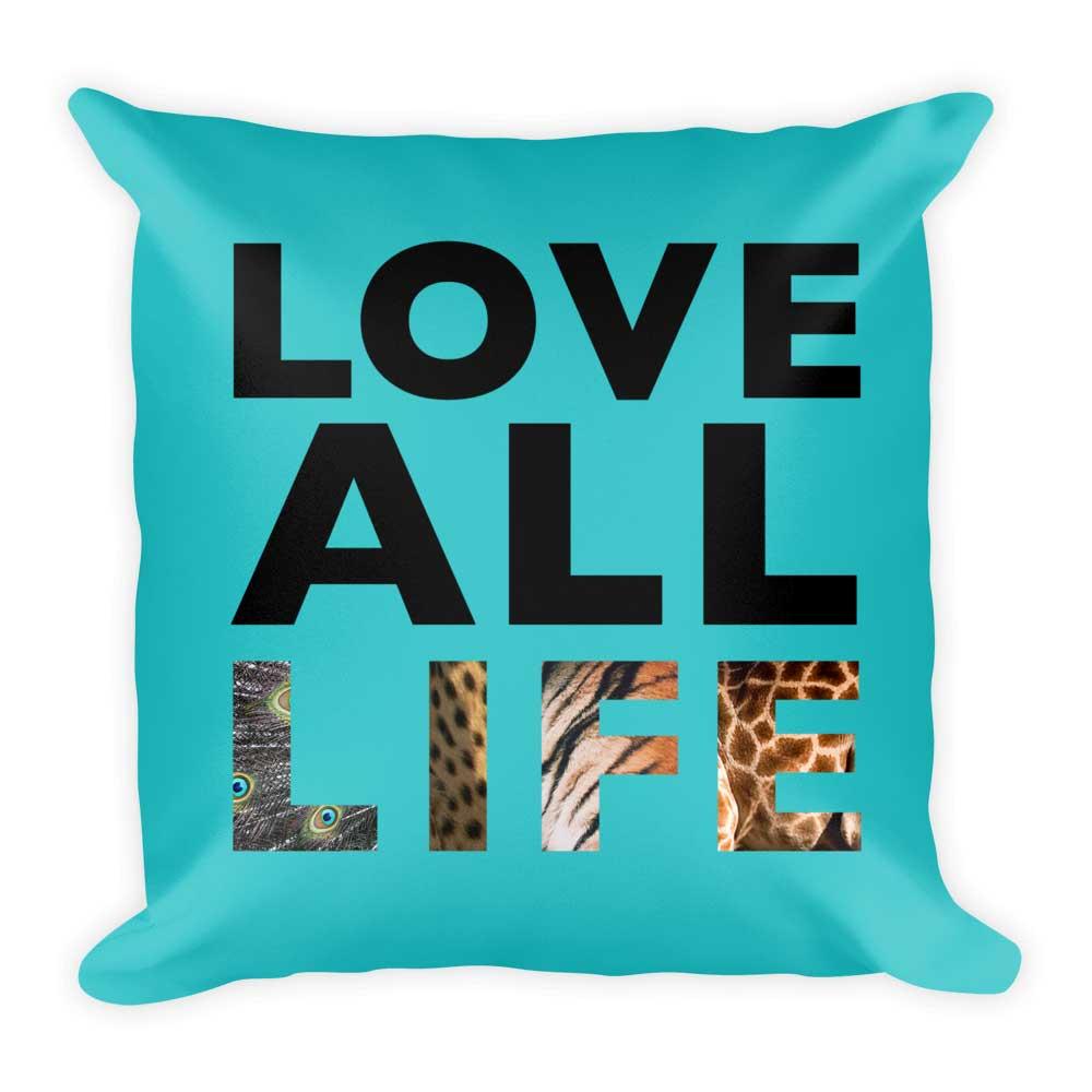 Love All Life Pillow - Blue