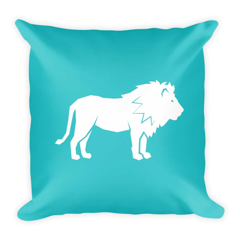 Lion Pillow - White Blue