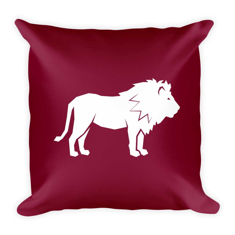 Lion Pillow - Crimson
