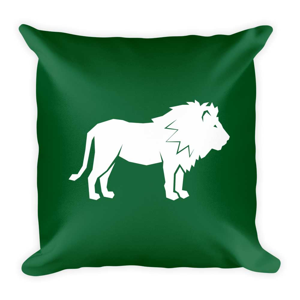 Lion Pillow - Dark Green