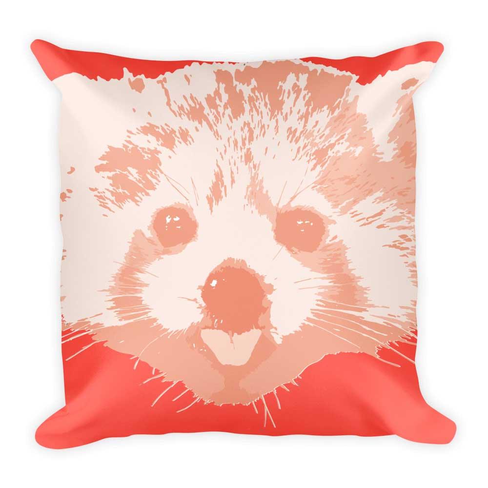 Red Panda Pillow - Dark Pink