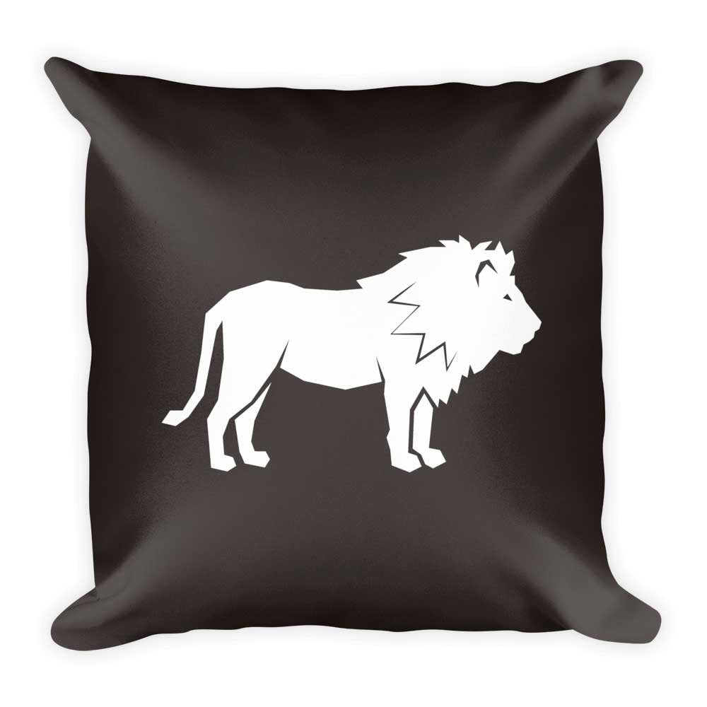 Lion Pillow - Gray