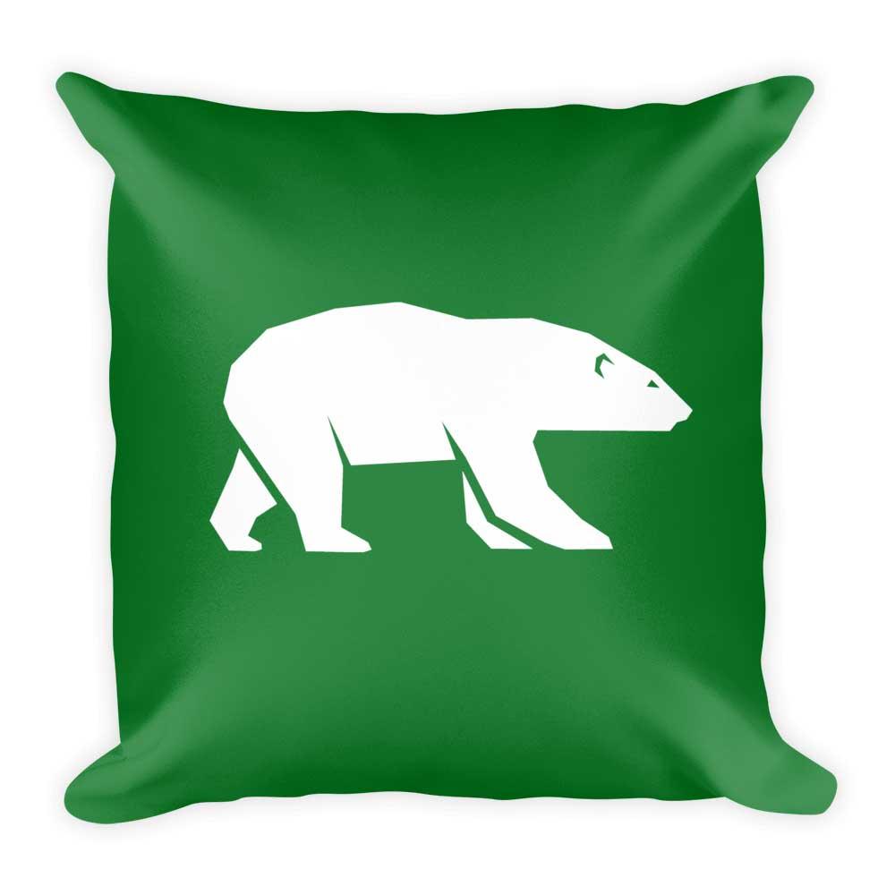Polar Bear Pillow - Green