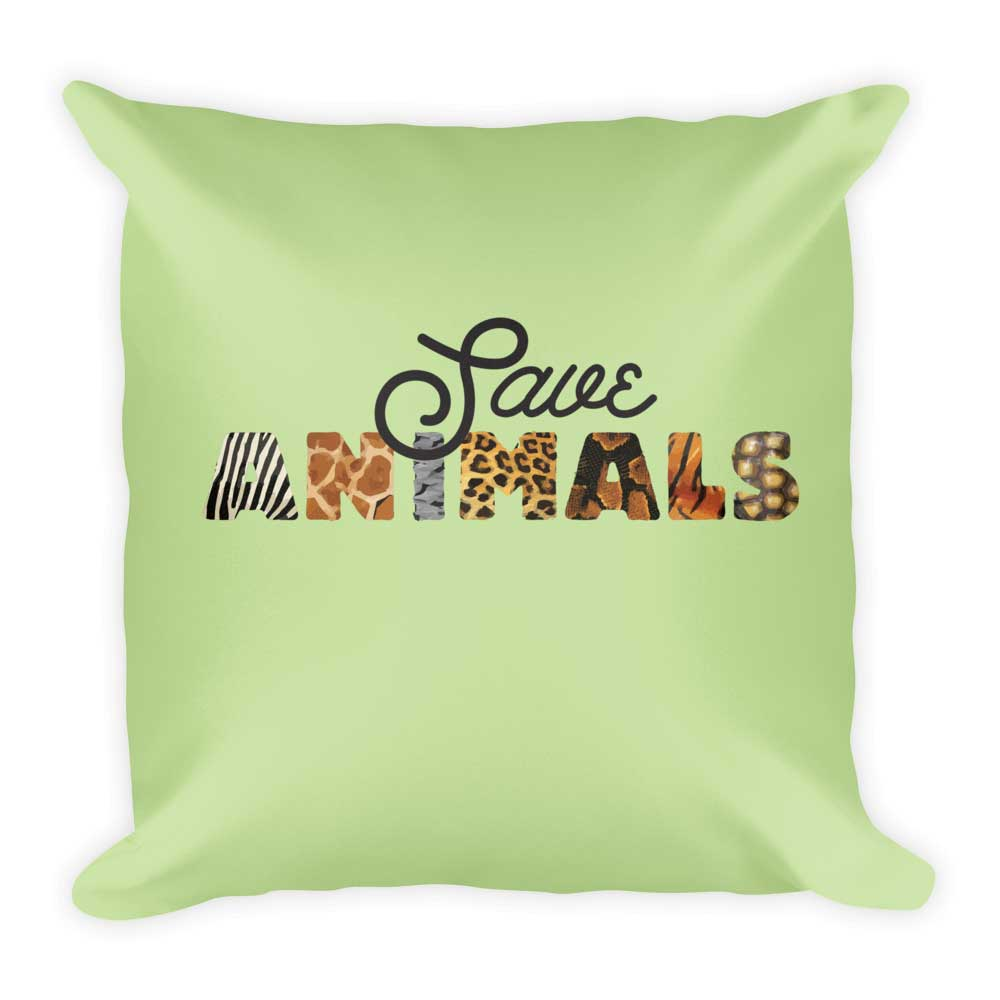 Save Animals Pillow - Green