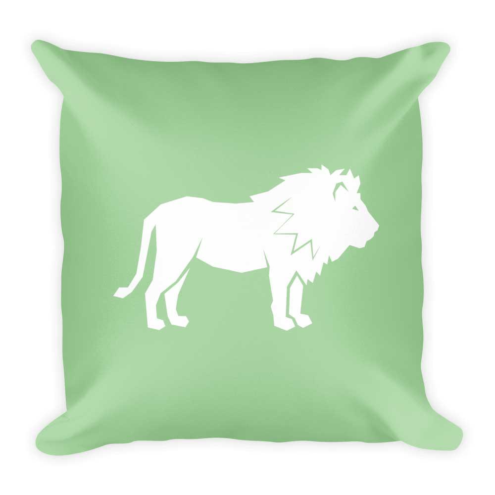 Lion Pillow - White Green
