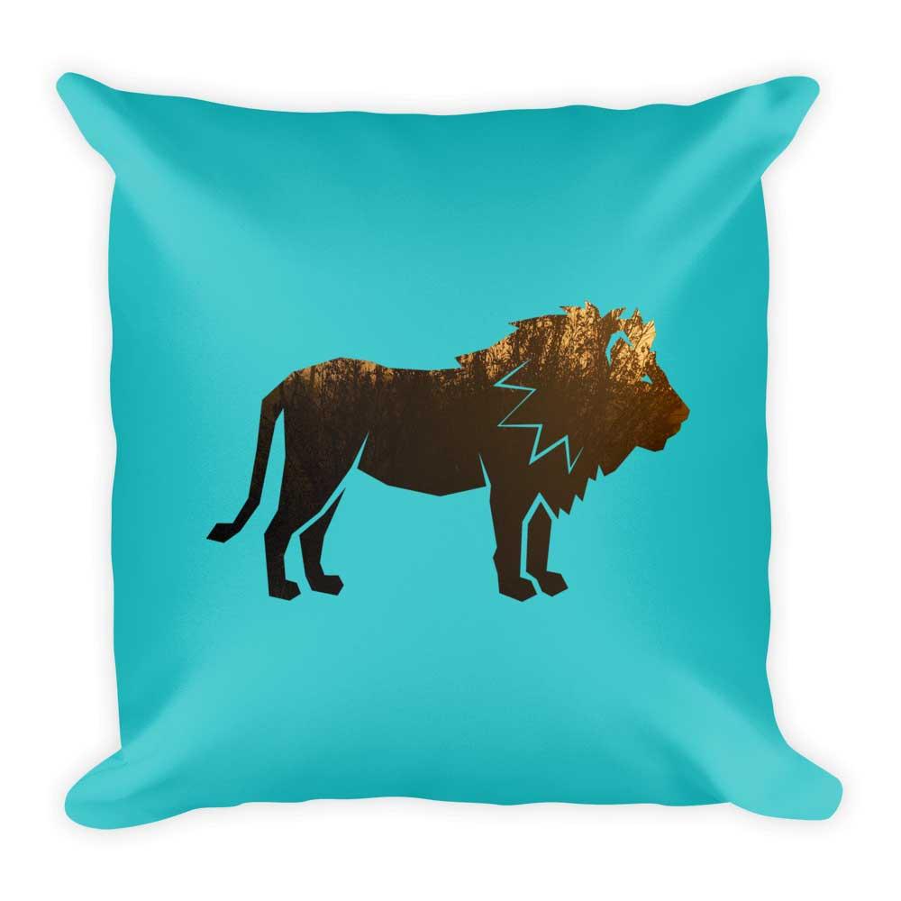 Lion Pillow - Habitat Blue