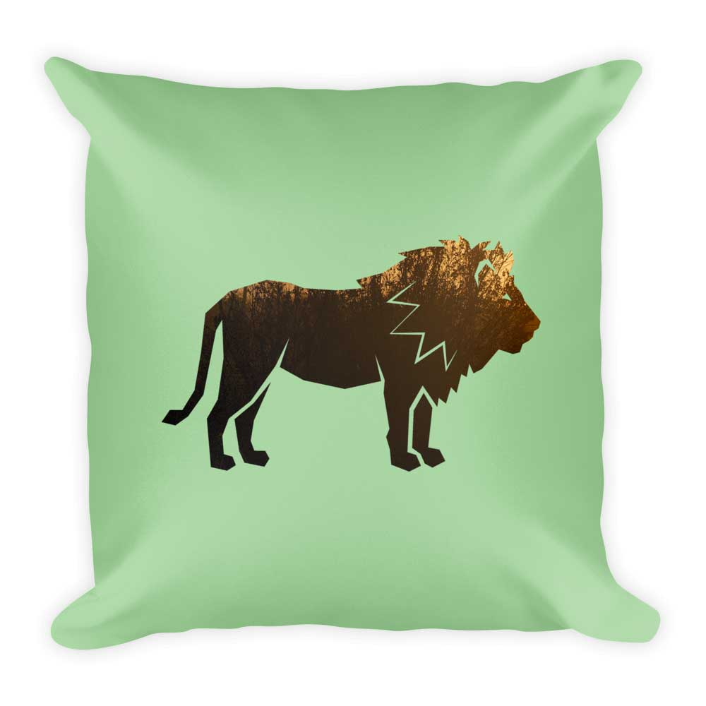 Lion Pillow - Habitat Green