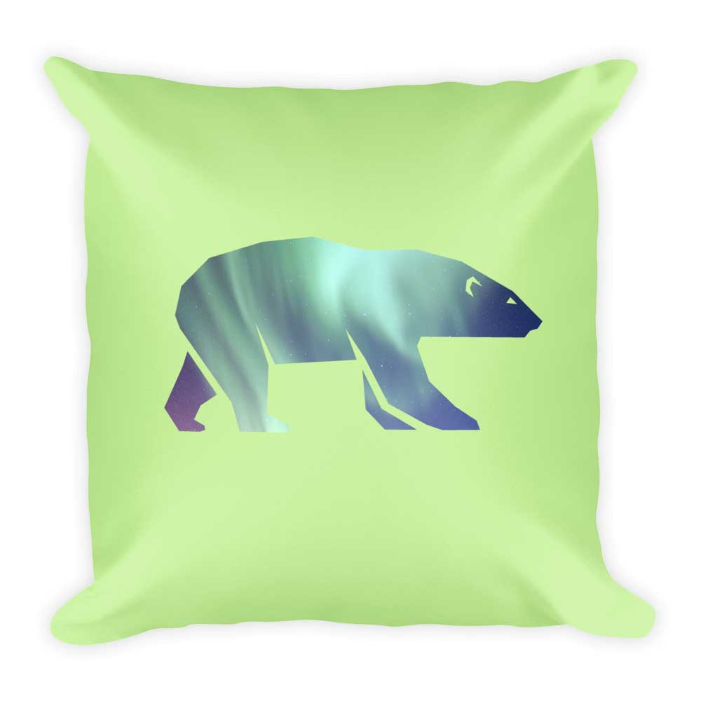 Polar Bear Pillow - Light Green