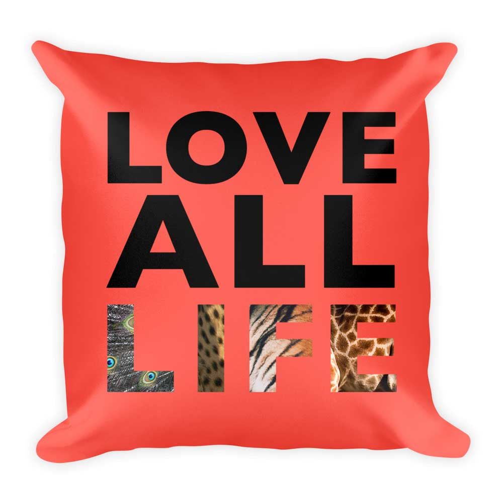 Love All Life Pillow - Red