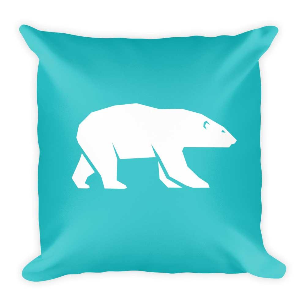 Polar Bear Pillow - White Teal