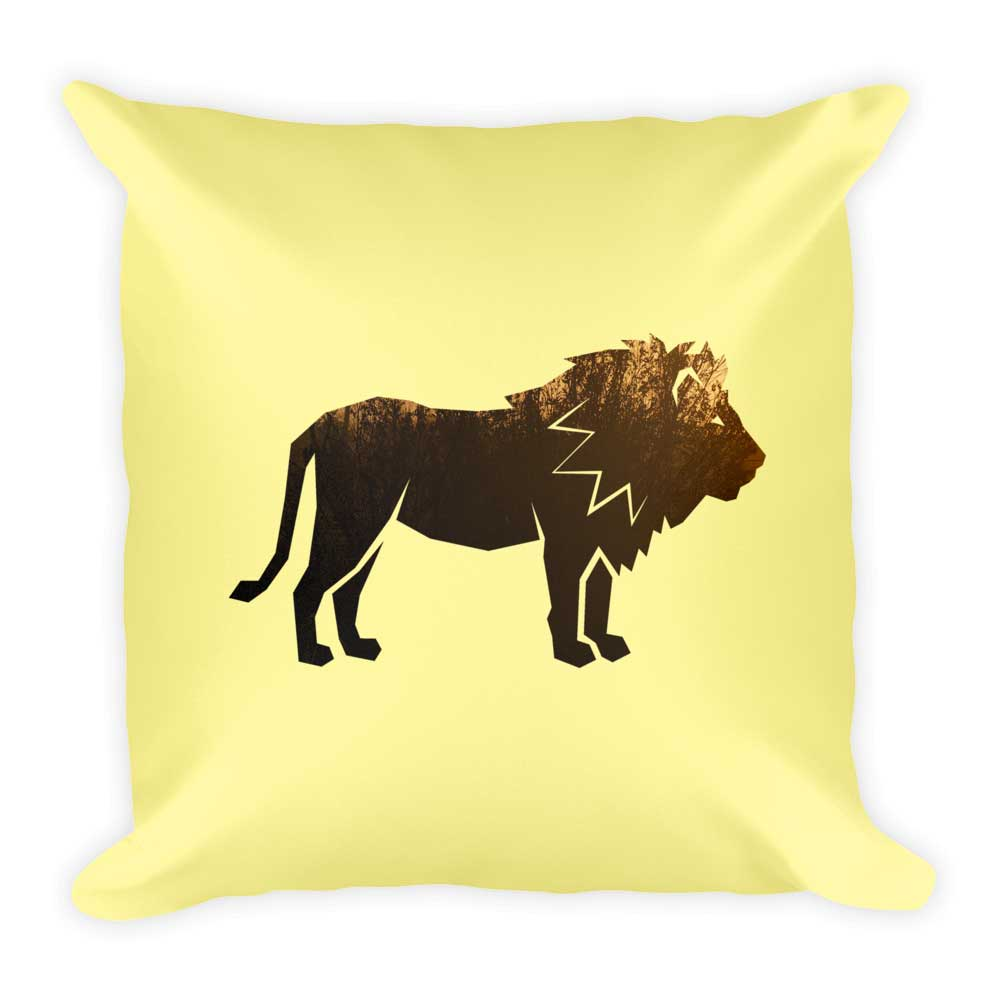 Lion Pillow - Yellow