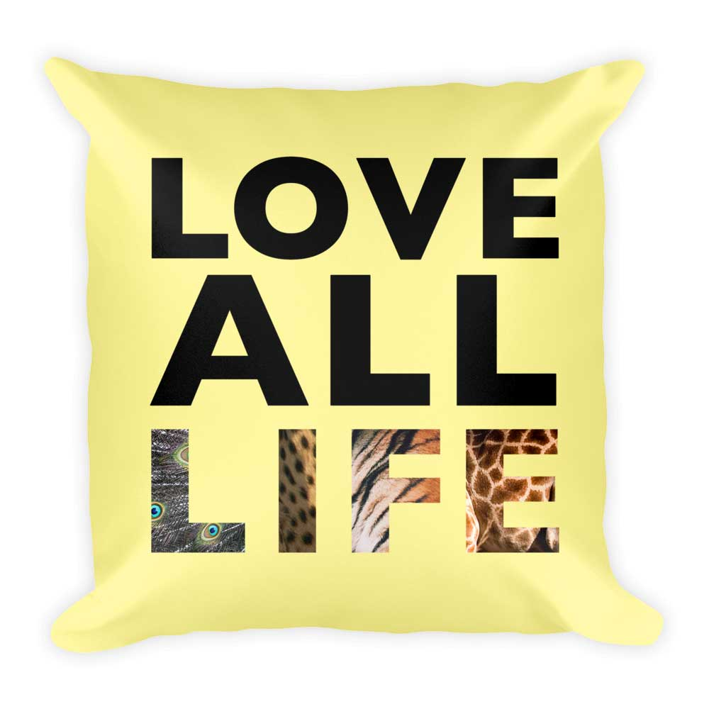 Love All Life Pillow - Yellow