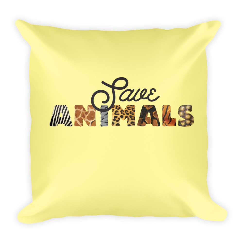 Save Animals Pillow - Yellow