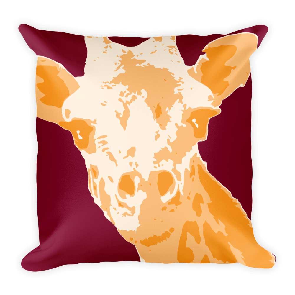 Giraffe Pillow - Maroon
