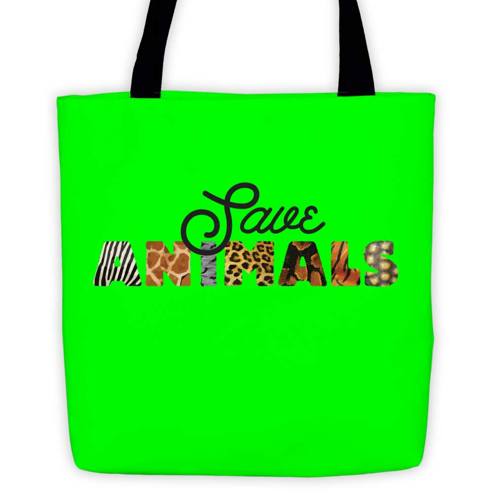 Save Animals Tote Bag - Green