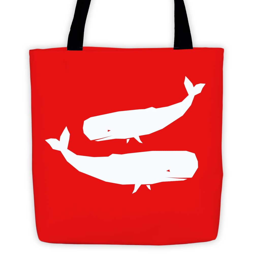 Whale Habitat Tote Bag - Red
