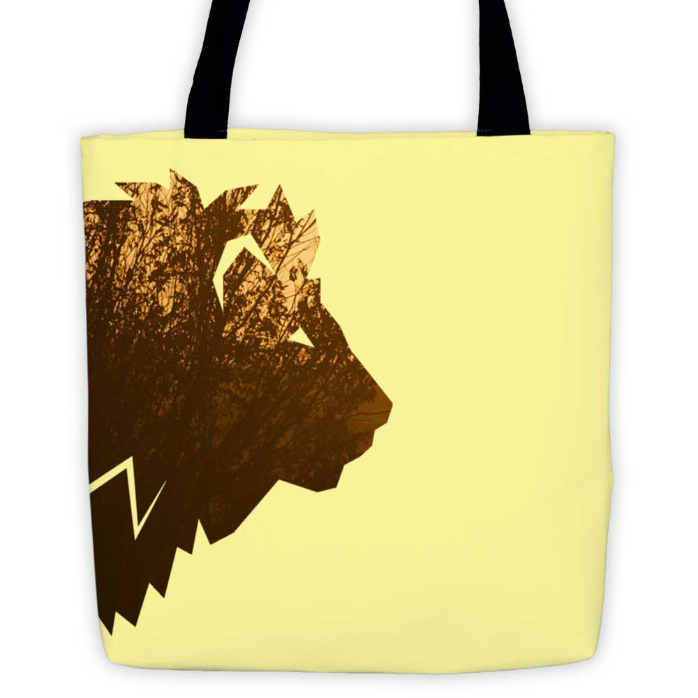 Lion Habitat Tote Bag - Yellow