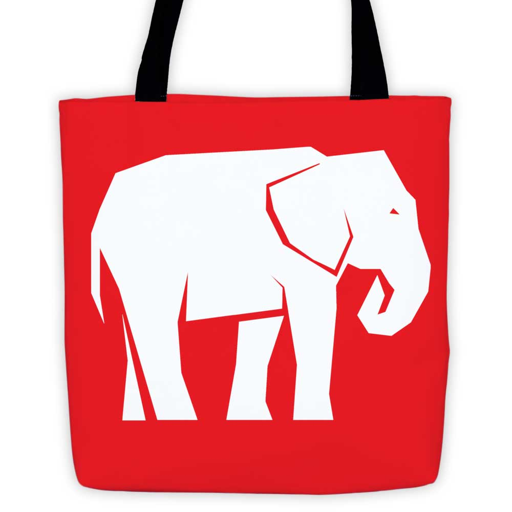 Elephant Habitat Tote Bag - Red