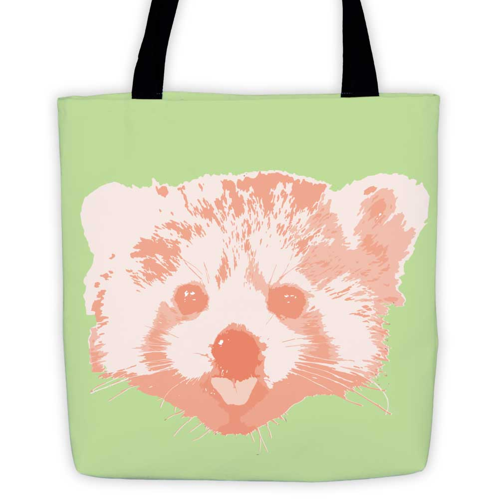Red Panda Tote Bag - Green