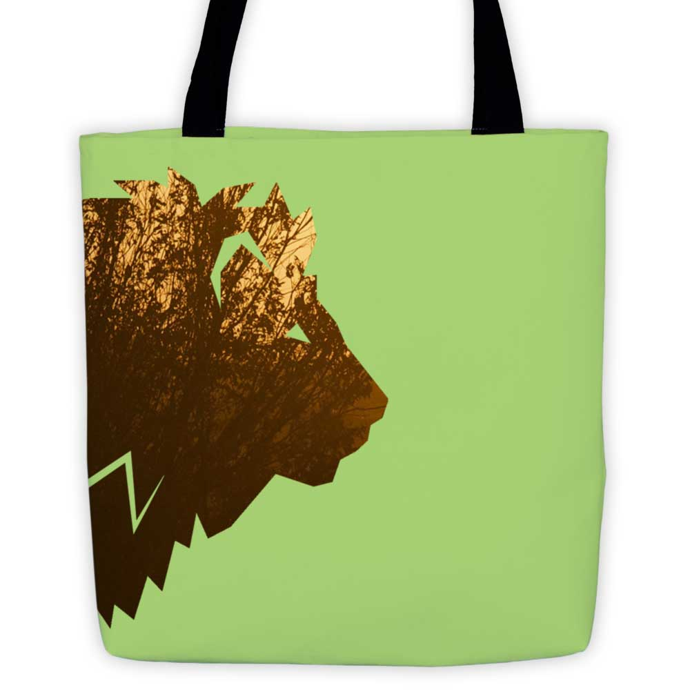 Lion Habitat Tote Bag - Green