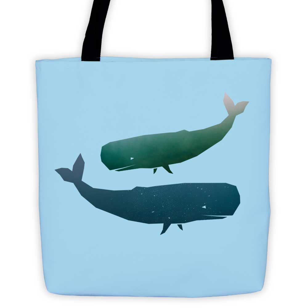 Whale Habitat Tote Bag - Light Blue