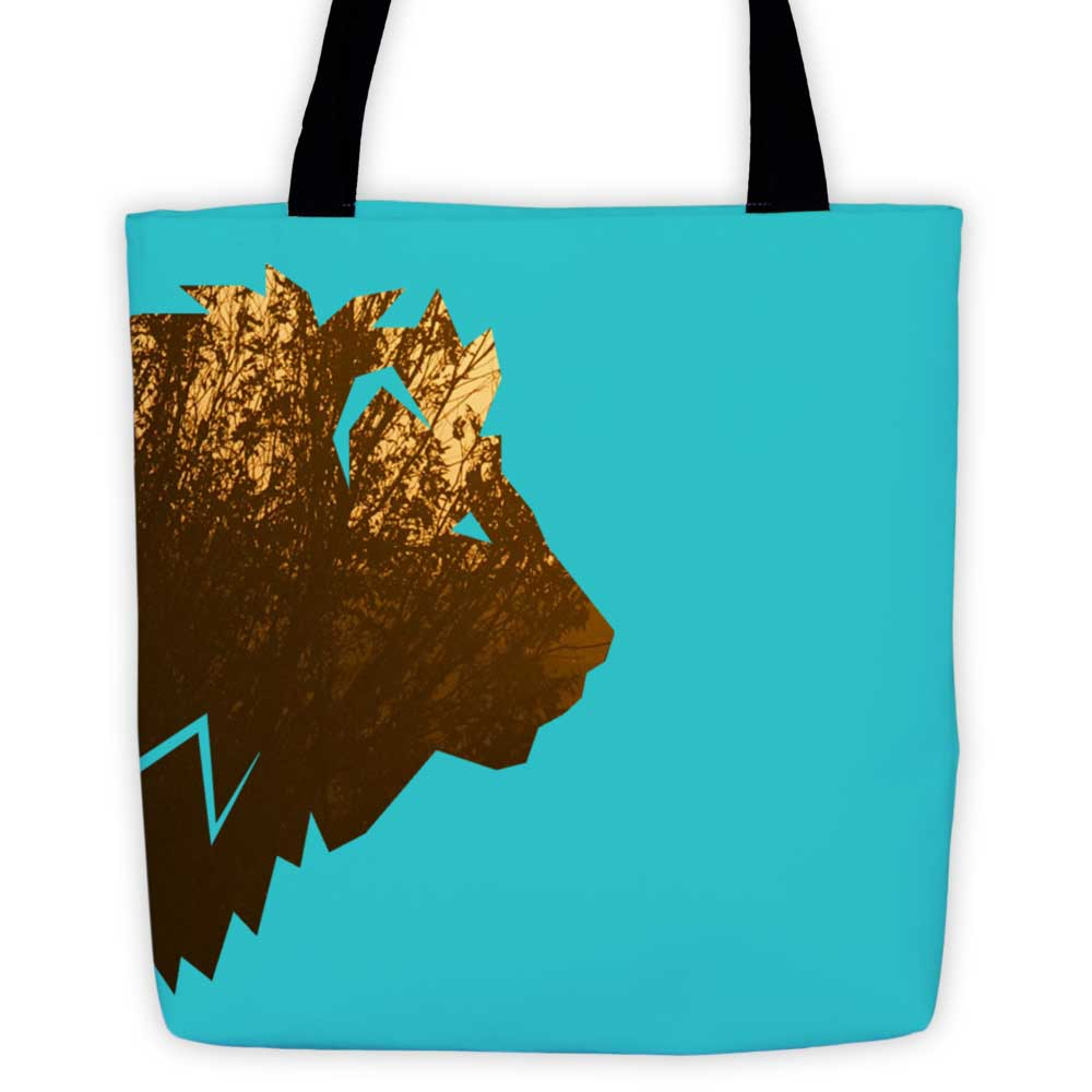 Lion Habitat Tote Bag - Blue