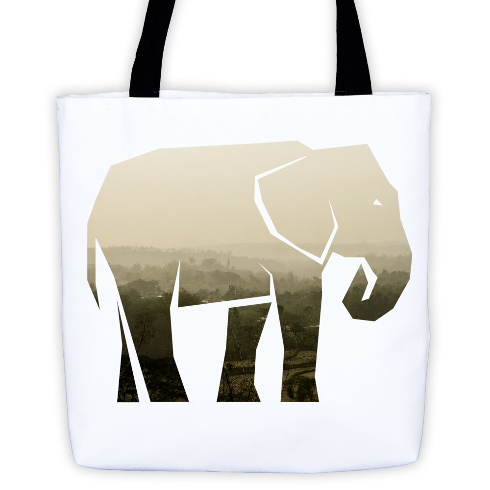 Elephant Habitat Tote Bag - White