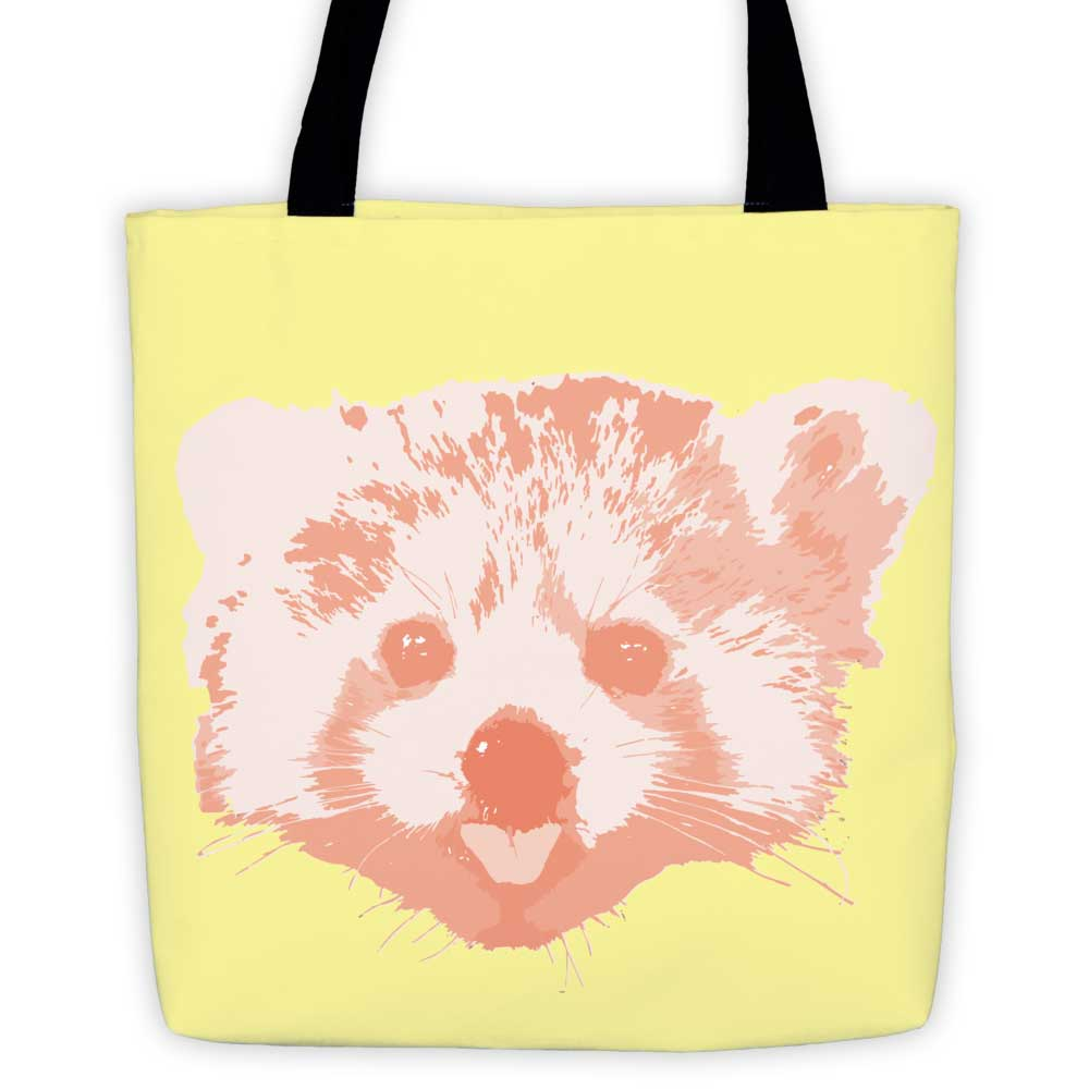 Red Panda Tote Bag - Yellow