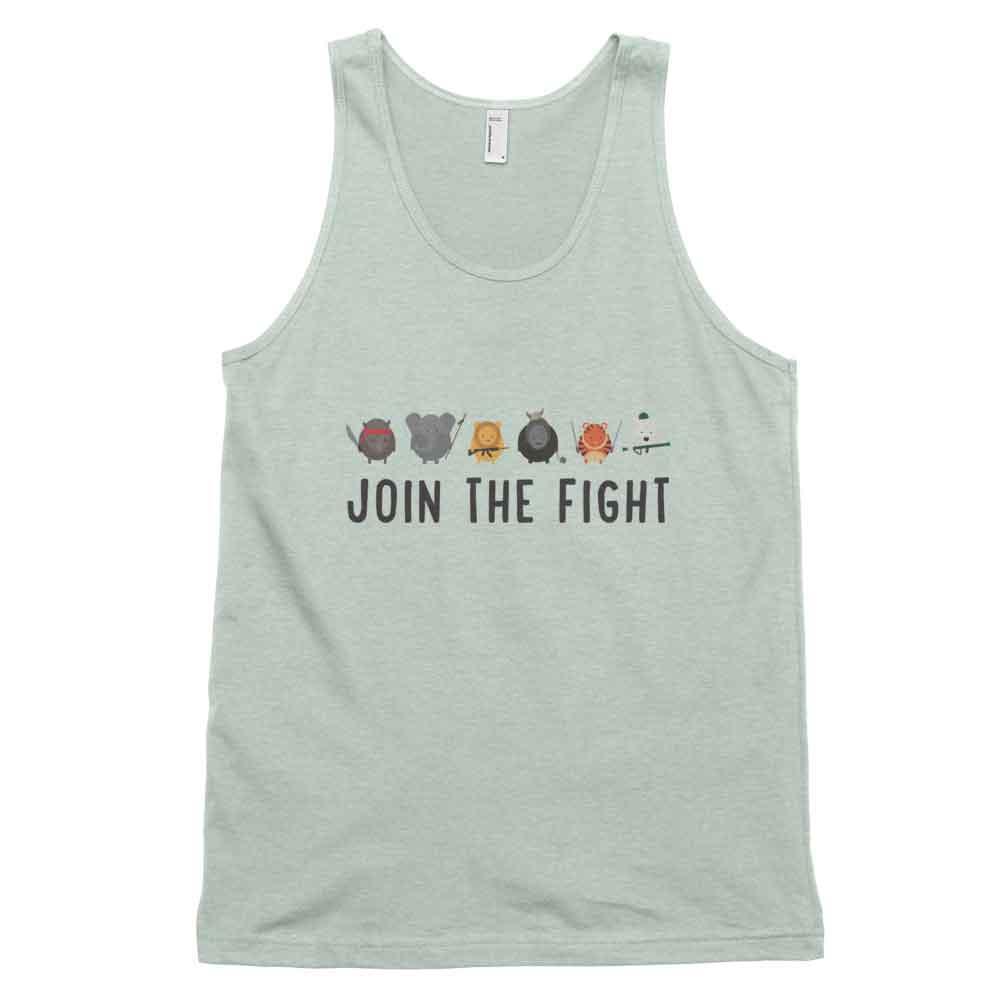 Join the Fight Tank - Ash Grey Sea Foam