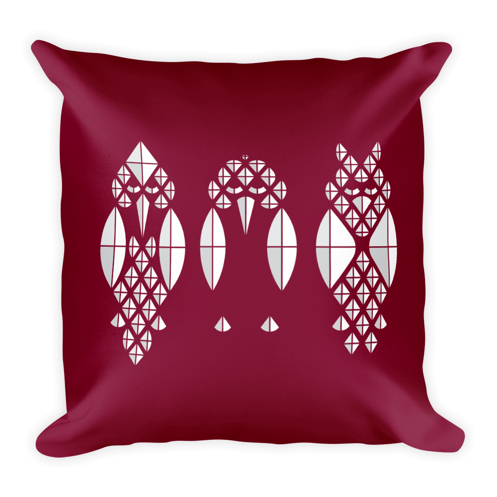Diamond Birds Pillow - Maroon