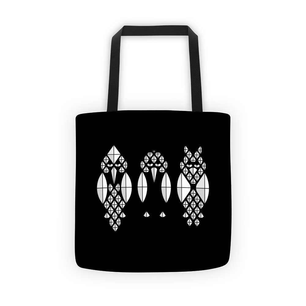 Diamond Birds Tote Bag - Black