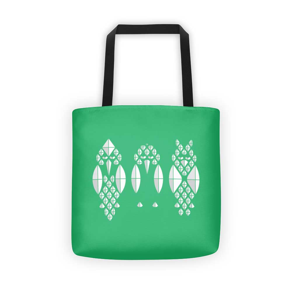 Diamond Birds Tote Bag - Green