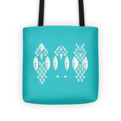 Diamond Birds Tote Bag - Aqua