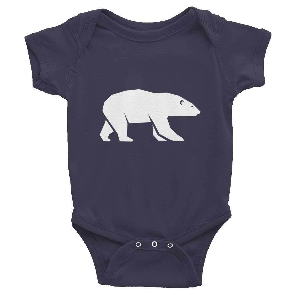 Polar Bear Habitat Baby Onesie - Asphalt