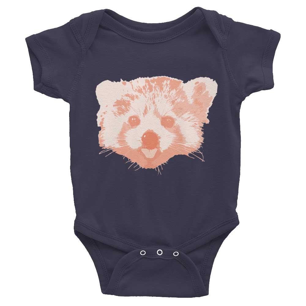 Red Panda Baby Onesie - Asphalt