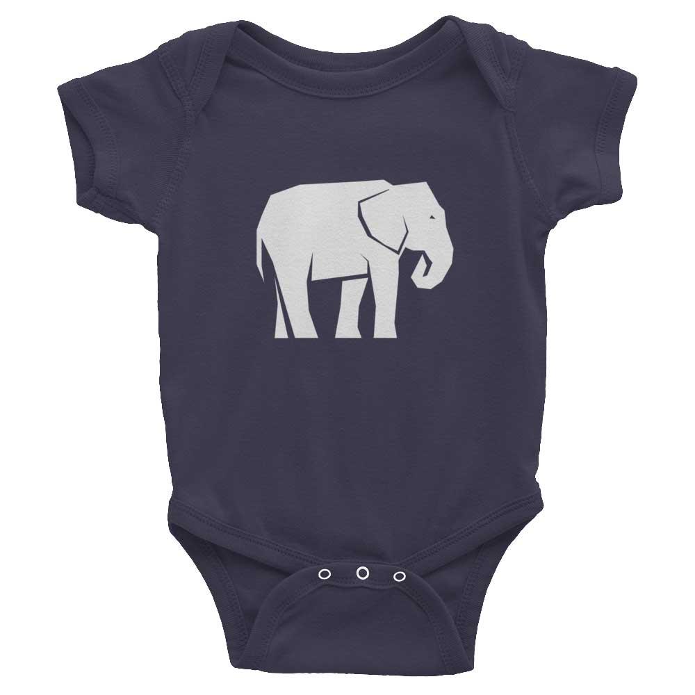Elephant Habitat Baby Onesie - Asphalt