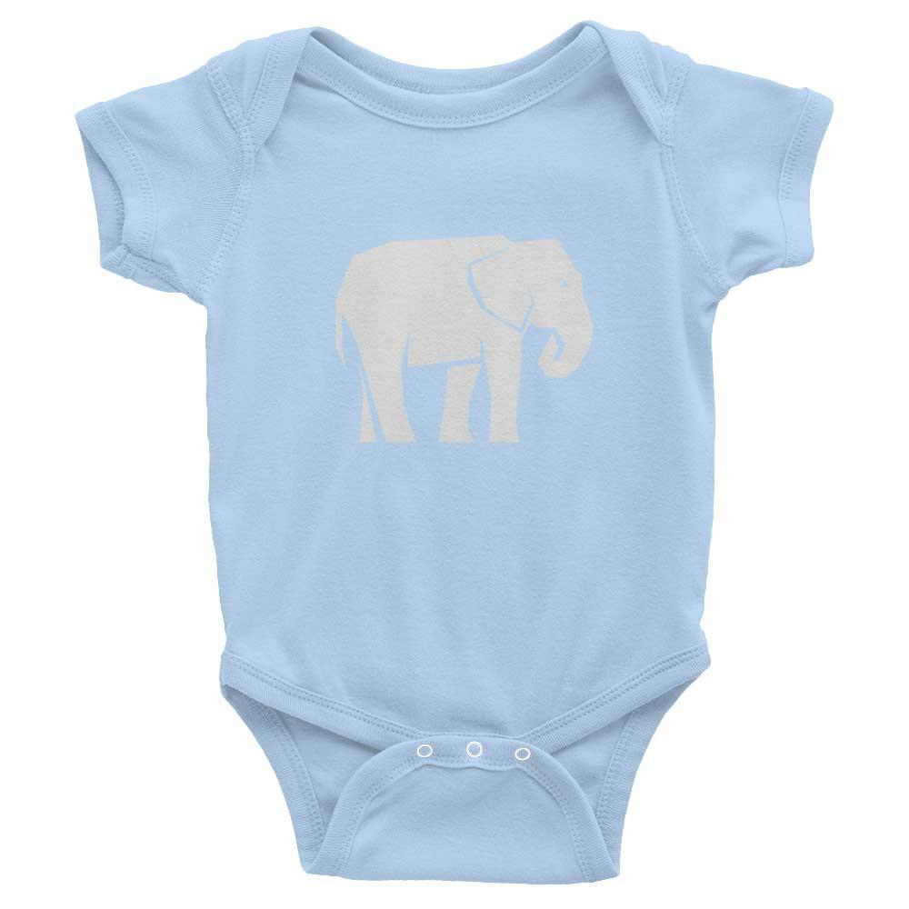 Elephant Habitat Baby Onesie - Baby Blue
