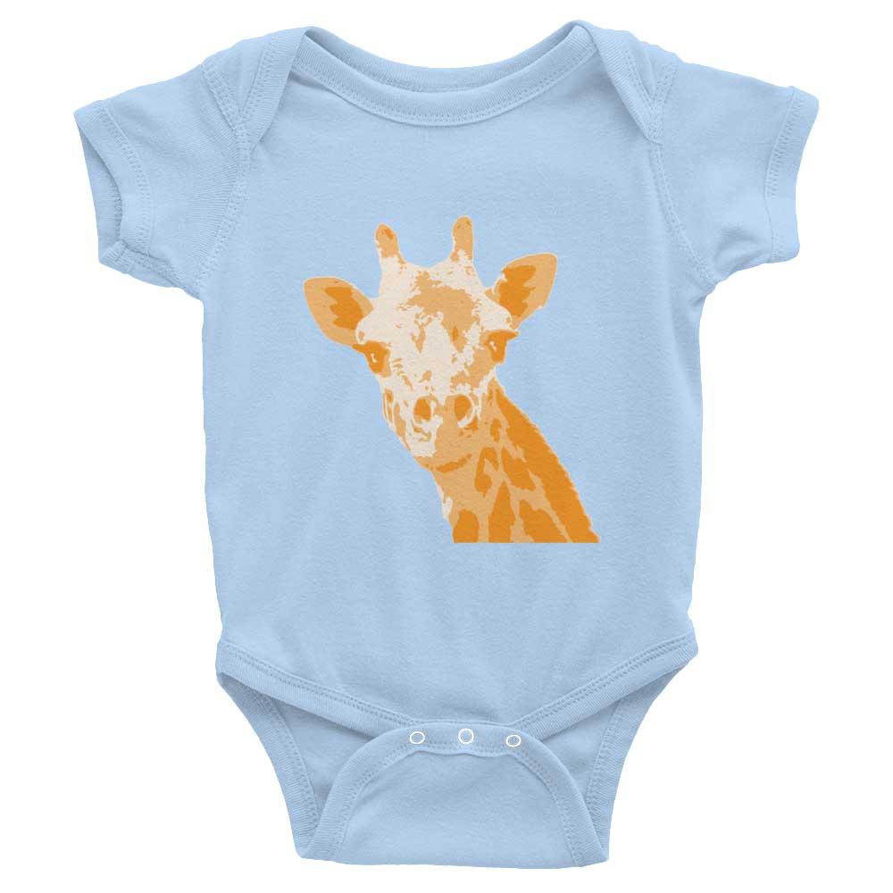 Giraffe Baby Onesie - Baby Blue