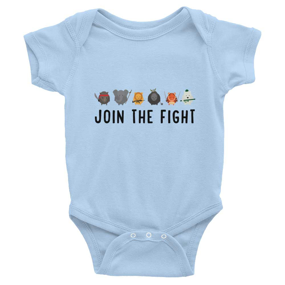 Join the Fight Baby Onesie - Baby Blue