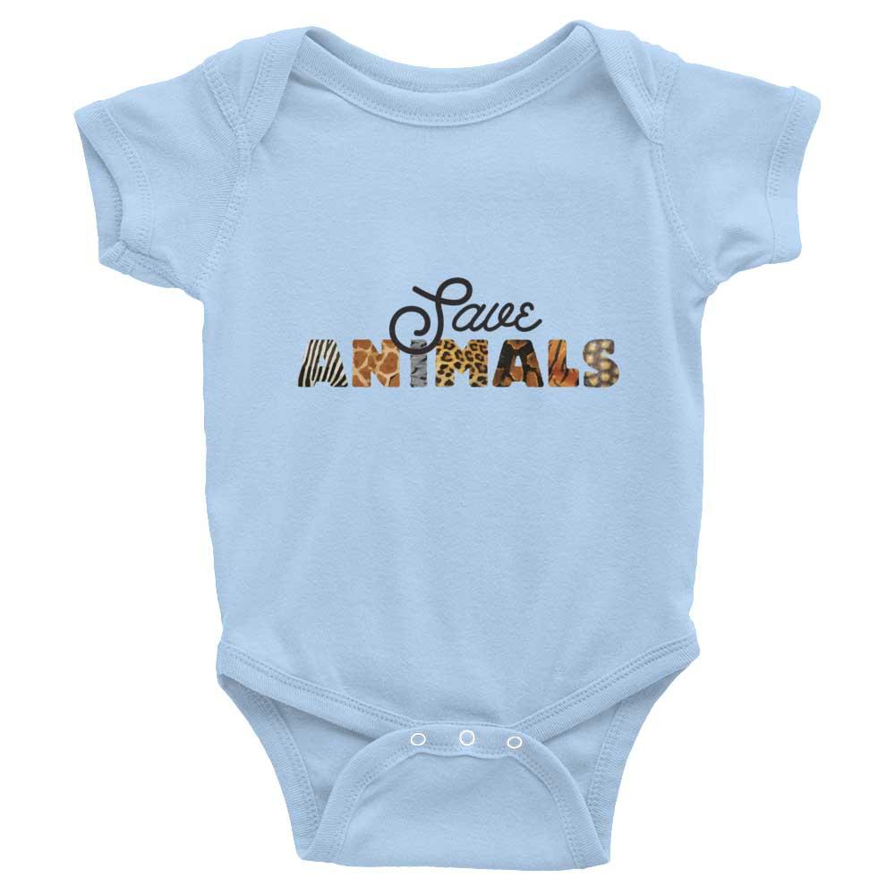 Save Animals Baby Onesie - Baby Blue