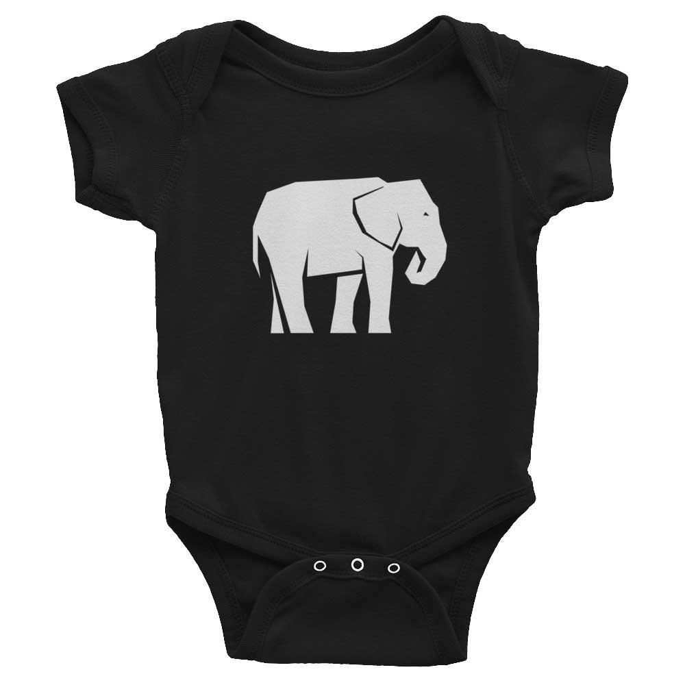 Elephant Habitat Baby Onesie - Black