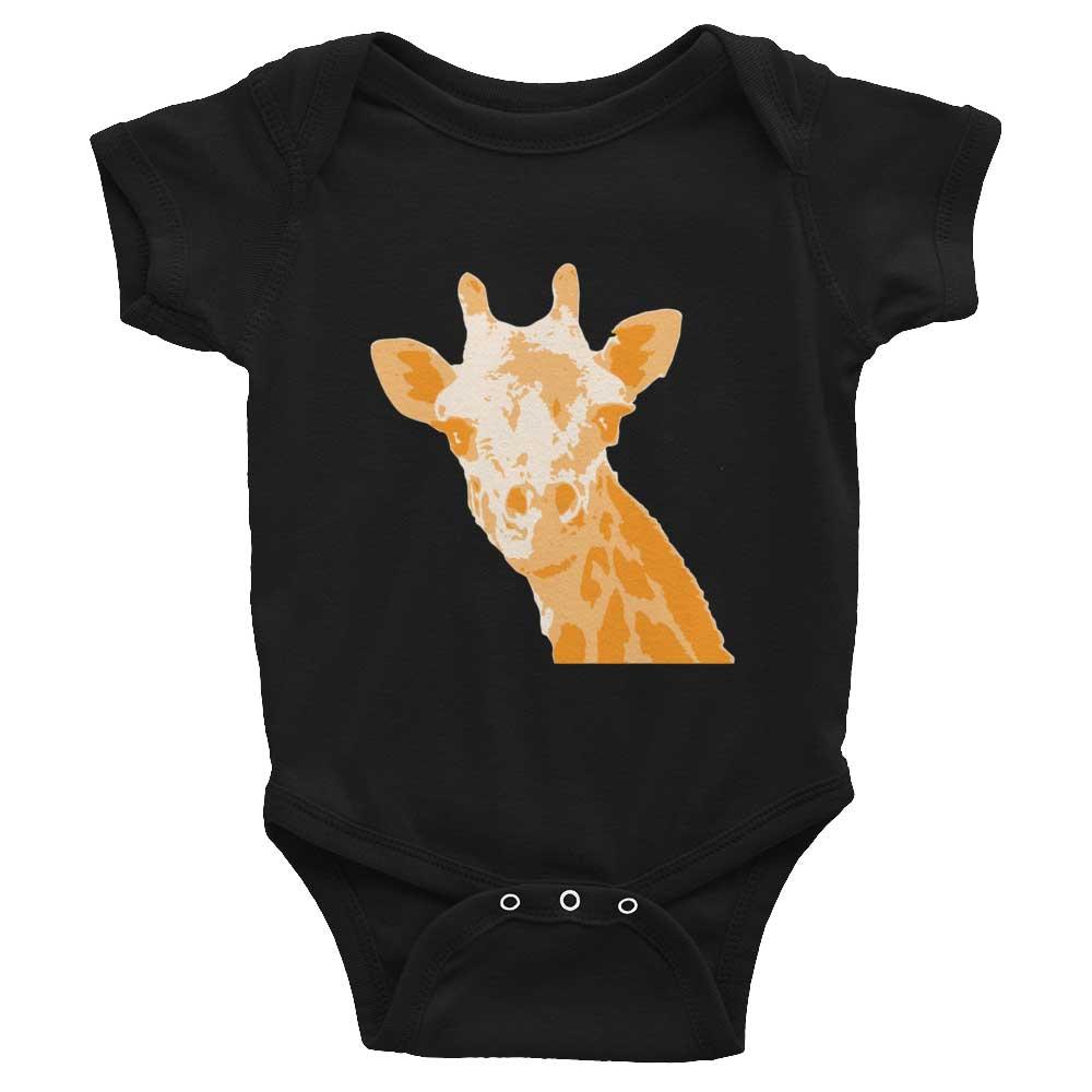 Giraffe Baby Onesie - Black