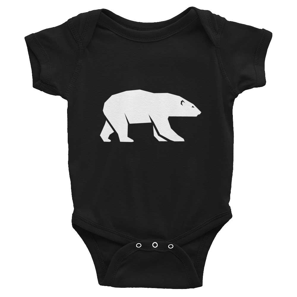 Polar Bear Habitat Baby Onesie - Black