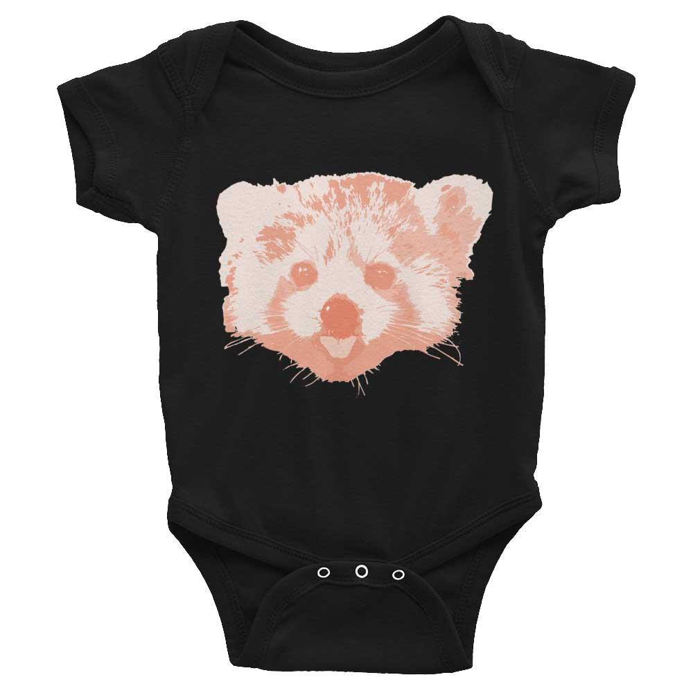 Red Panda Baby Onesie - Black