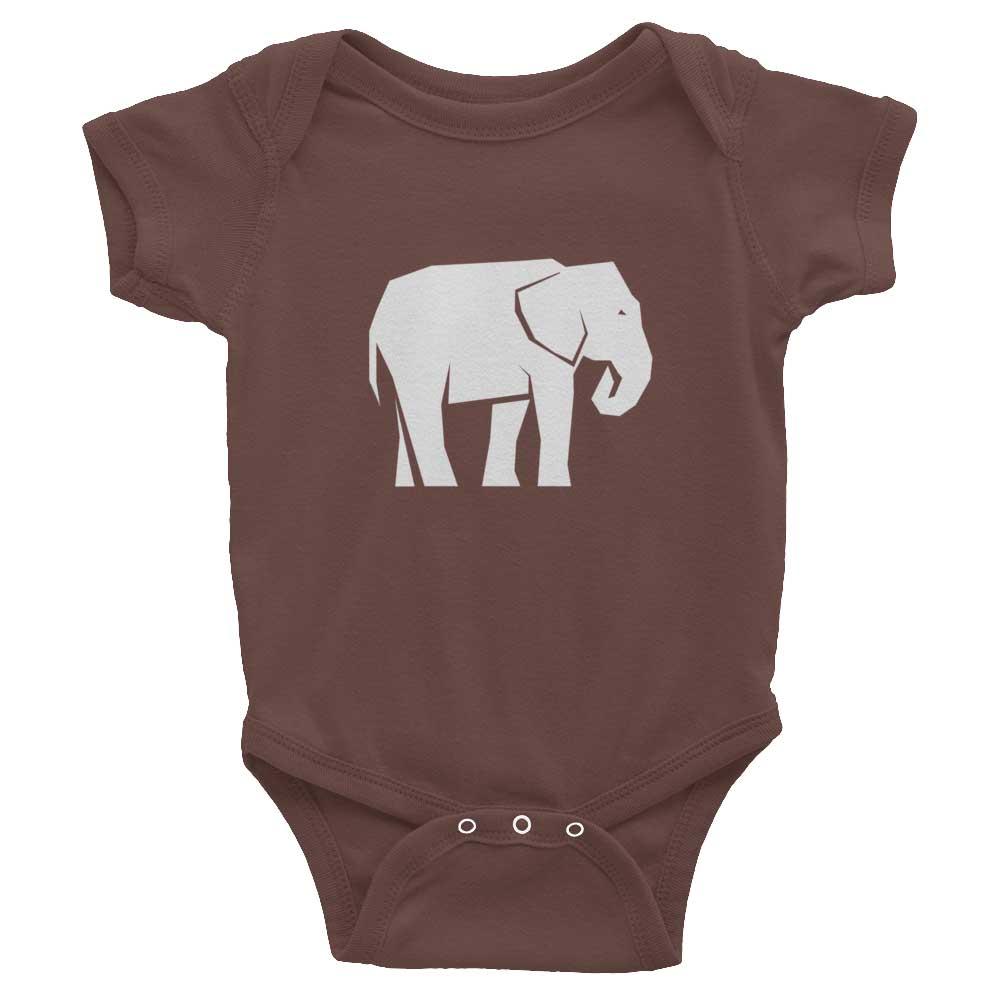 Elephant Habitat Baby Onesie - Brown