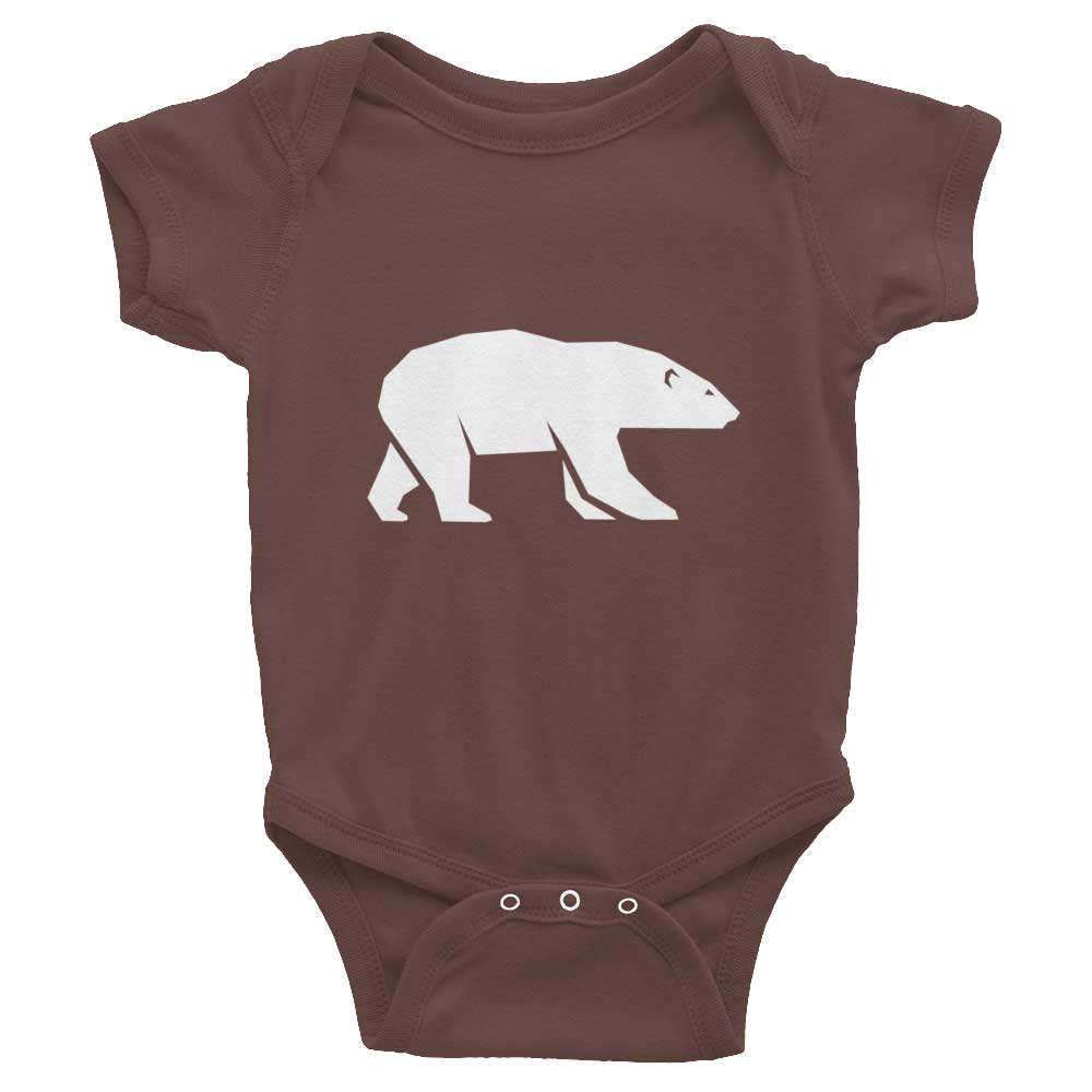 Polar Bear Habitat Baby Onesie - Brown