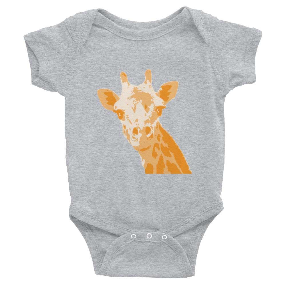Giraffe Baby Onesie - Heather Grey