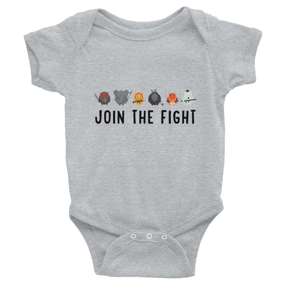 Join the Fight Baby Onesie - Heather Grey